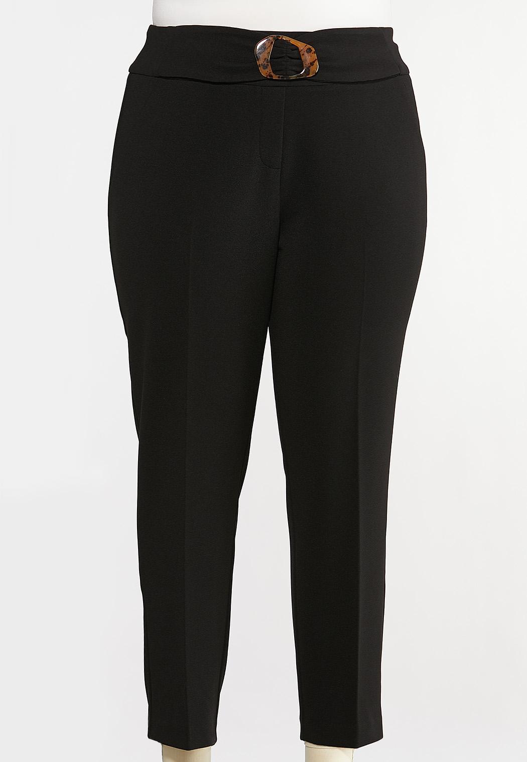 Plus Size Textured Slim Pants