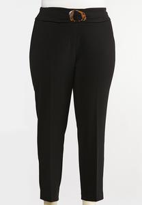 Plus Size Textured Slim Pants