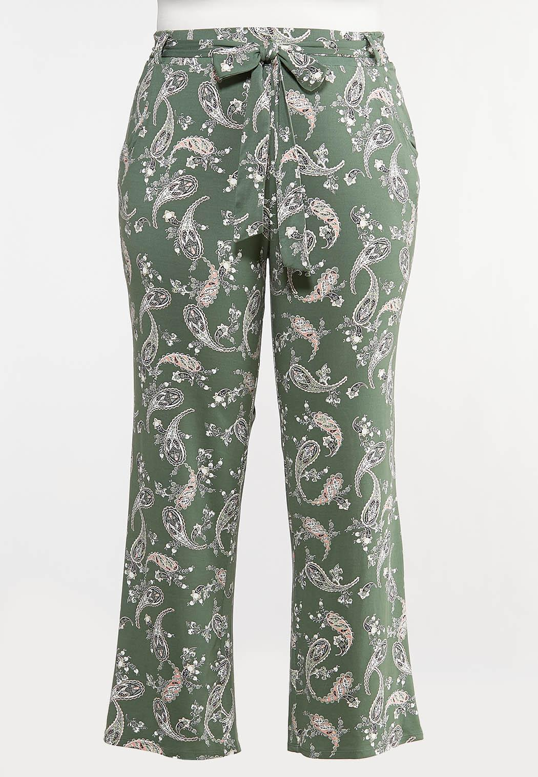 Plus Size Green Paisley Palazzo Pants