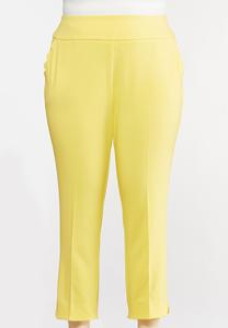 Plus Size Yellow Scalloped Pants