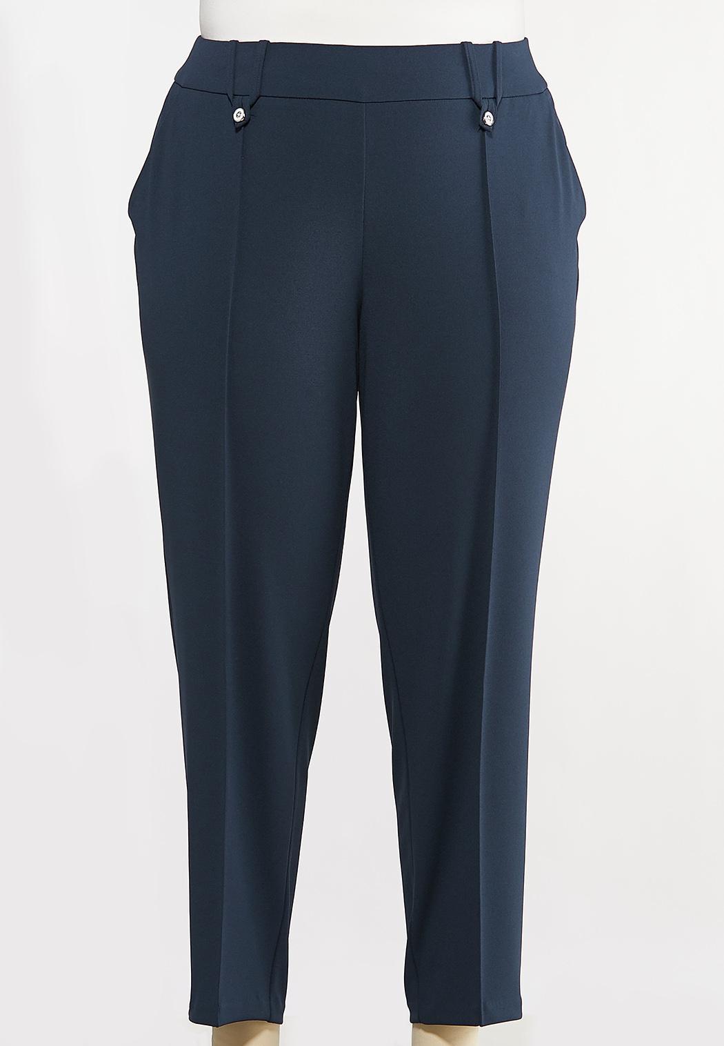 Plus Size Slim Button Loop Pants