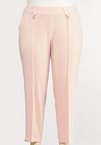 Plus Size Slim Button Loop Pants