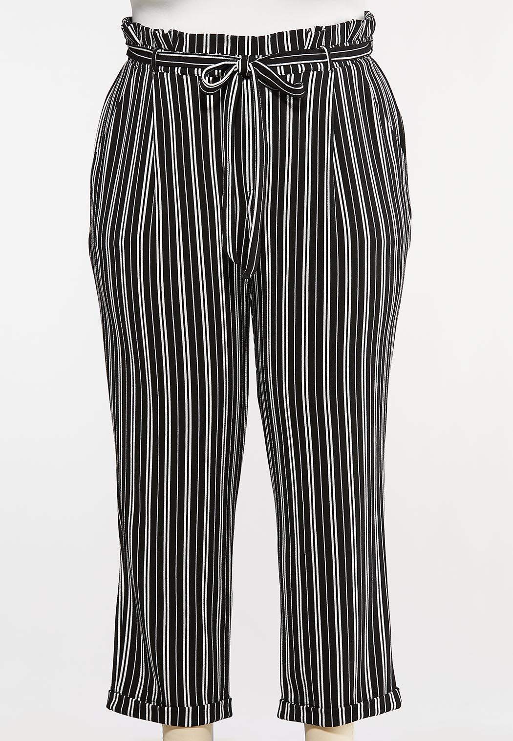 Plus Size Black And White Tie Pants
