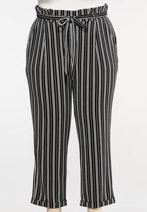 Plus Size Black And White Tie Pants