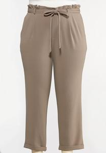 Plus Size Crepe Paperbag Waist Pants