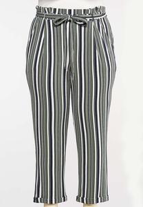 Plus Size Stripe Paperbag Pants