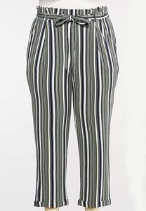 Plus Size Stripe Paperbag Pants