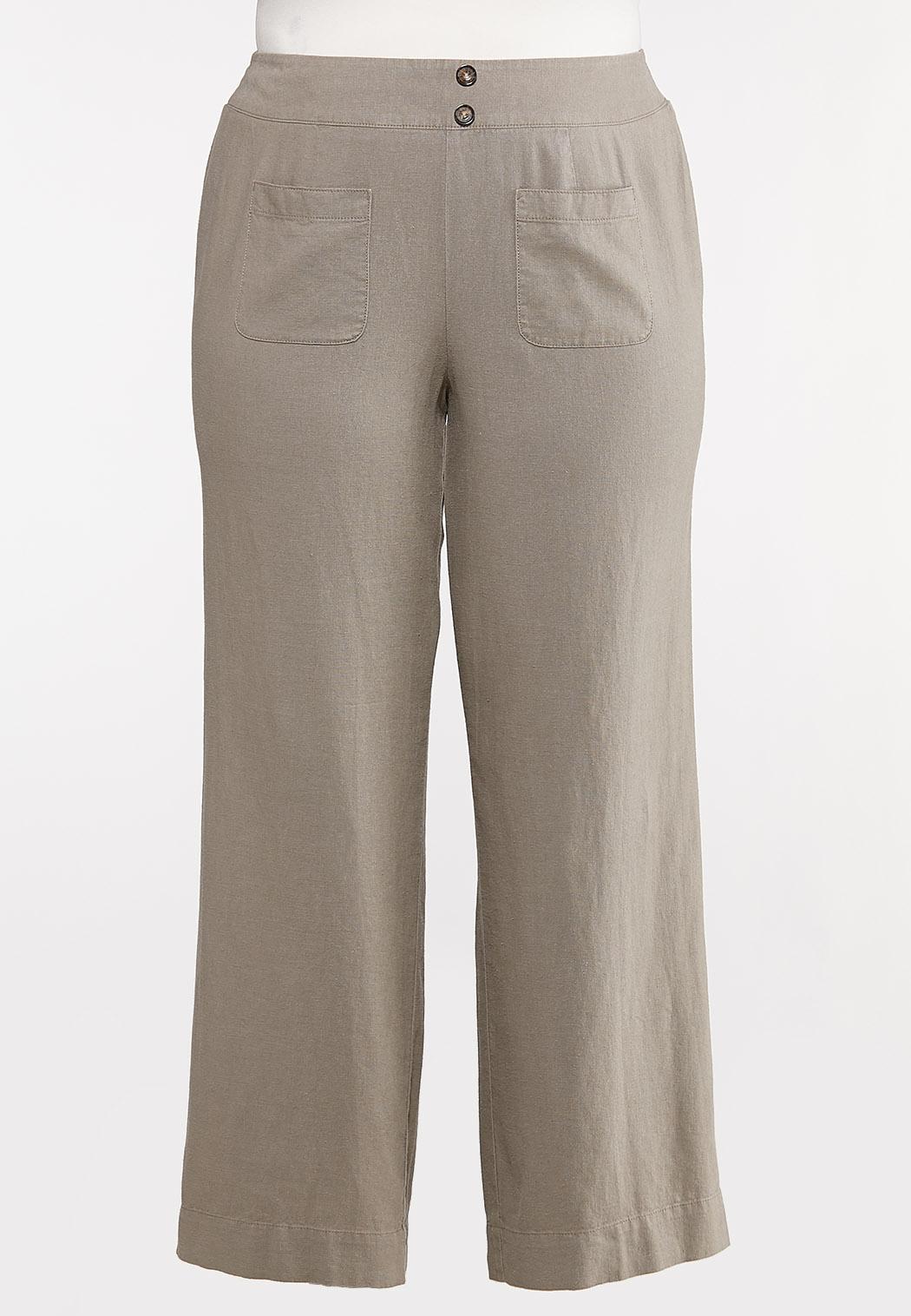 Plus Size Natural Linen Pants