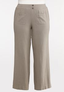 Plus Size Natural Linen Pants