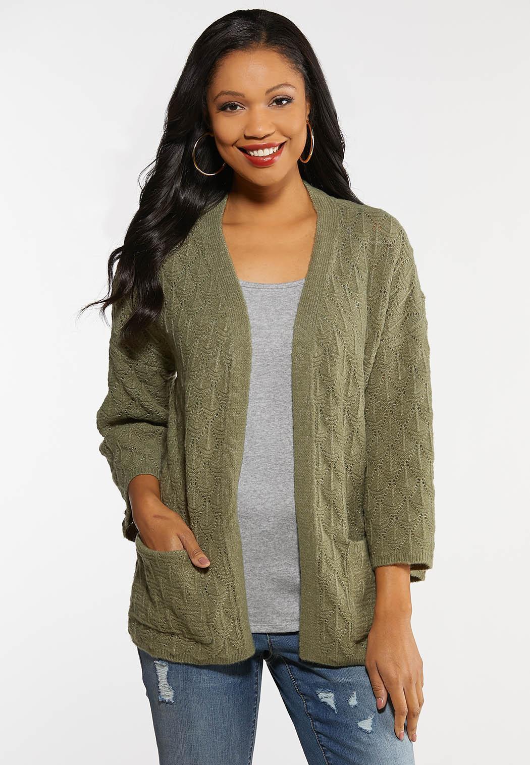 Plus Size Diamond Cardigan Sweater
