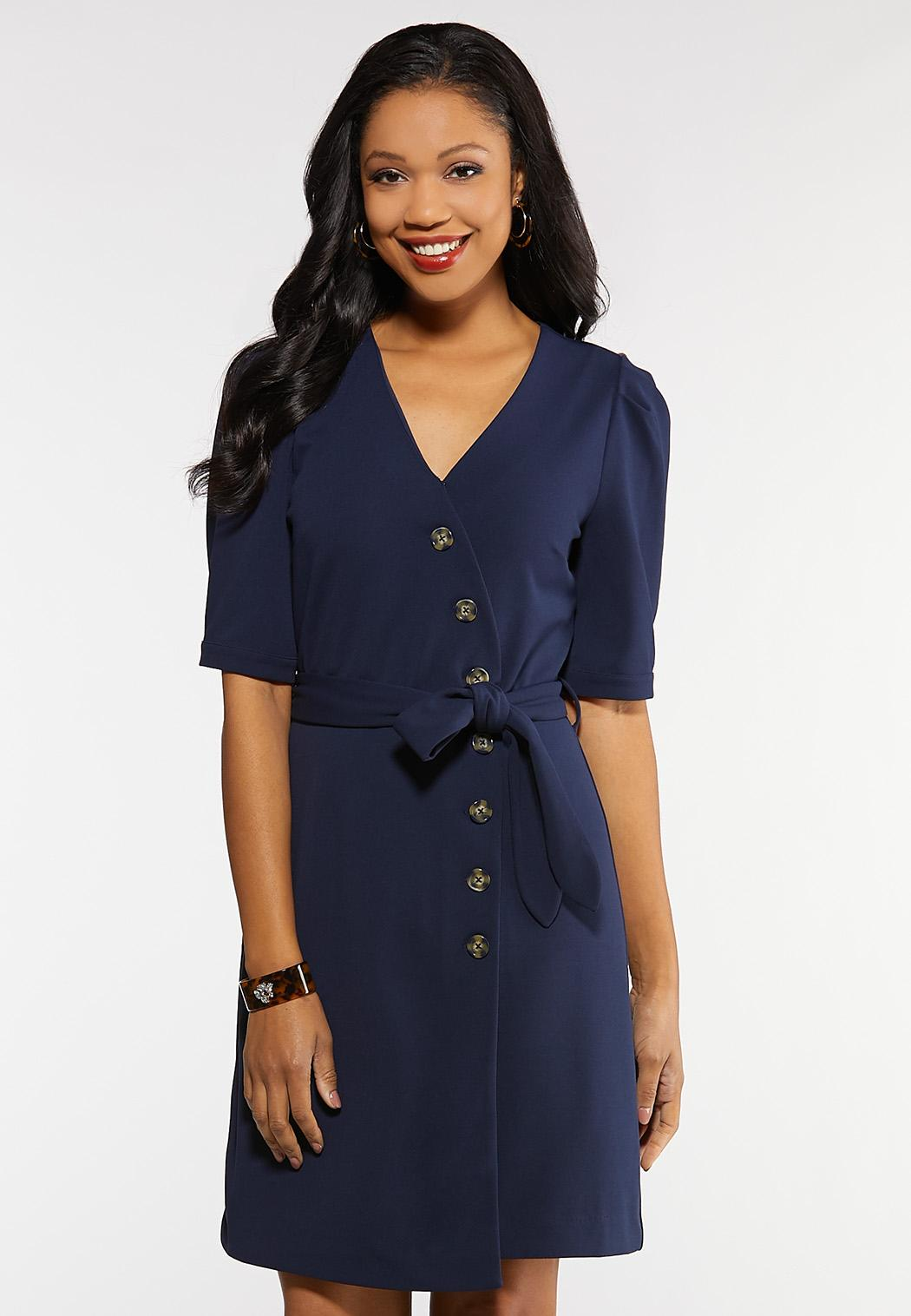 Plus Size Navy Tie Front Dress