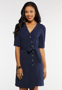 Plus Size Navy Tie Front Dress