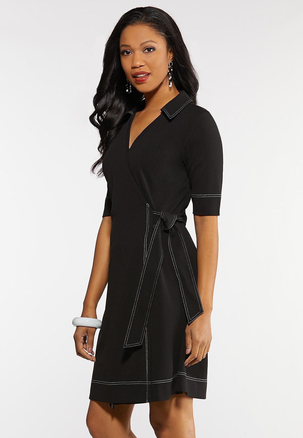 Contrast Stitch Wrap Dress