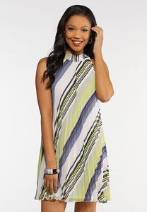 Plus Size Stripe Pleated Swing Dress