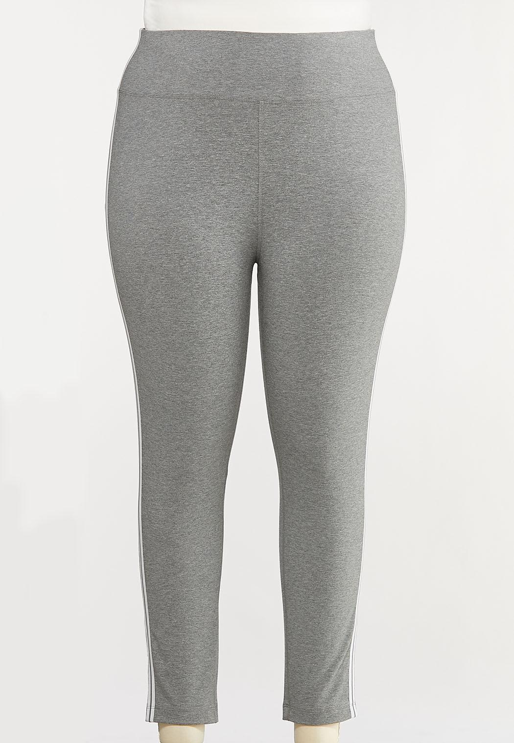 Plus Size White Striped Leggings