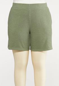 Plus Size Knit Active Shorts