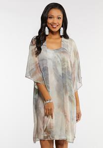 Plus Size Watercolor Slip Dress Set