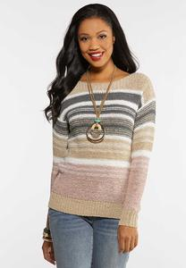 Plus Size Yarn Knit Striped Sweater