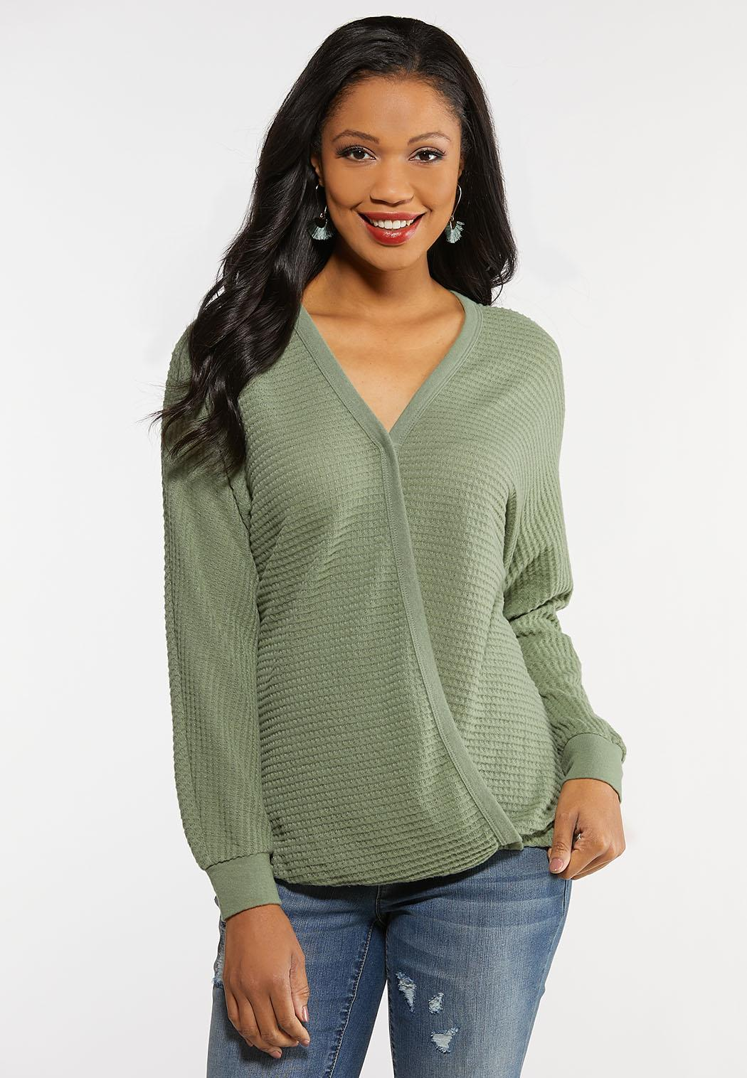 Faux Wrap Waffle Top