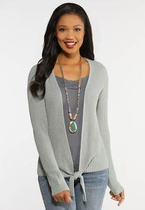 Plus Size Tie Front Cardigan Sweater