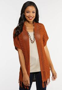 Plus Size Caramel Fringe Sweater Cardigan