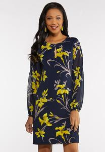 Plus Size Sheer Sleeve Swing Dress