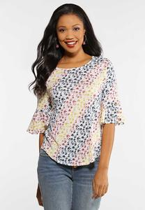 Plus Size Floral Flutter Sleeve Tee