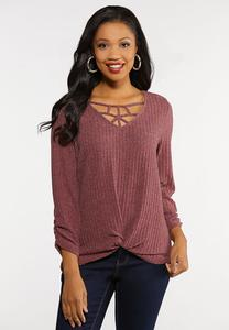 Plus Size Cage Neck Twist Top
