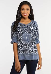 Plus Size Bandana Ruffled Sleeve Top