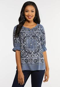 Plus Size Bandana Ruffled Sleeve Top
