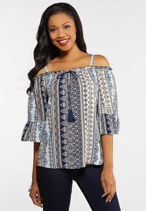 Boho Blue Cold Shoulder Top