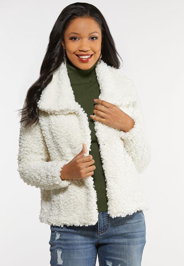 Fluffy Ivory Fur Jacket