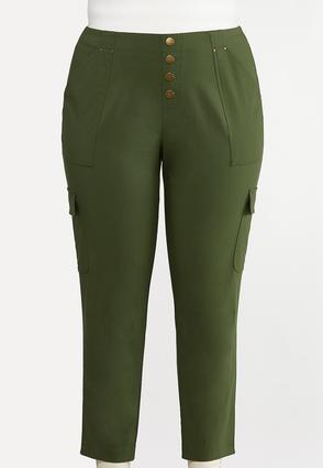 Plus Size Button Fly Utility Pants