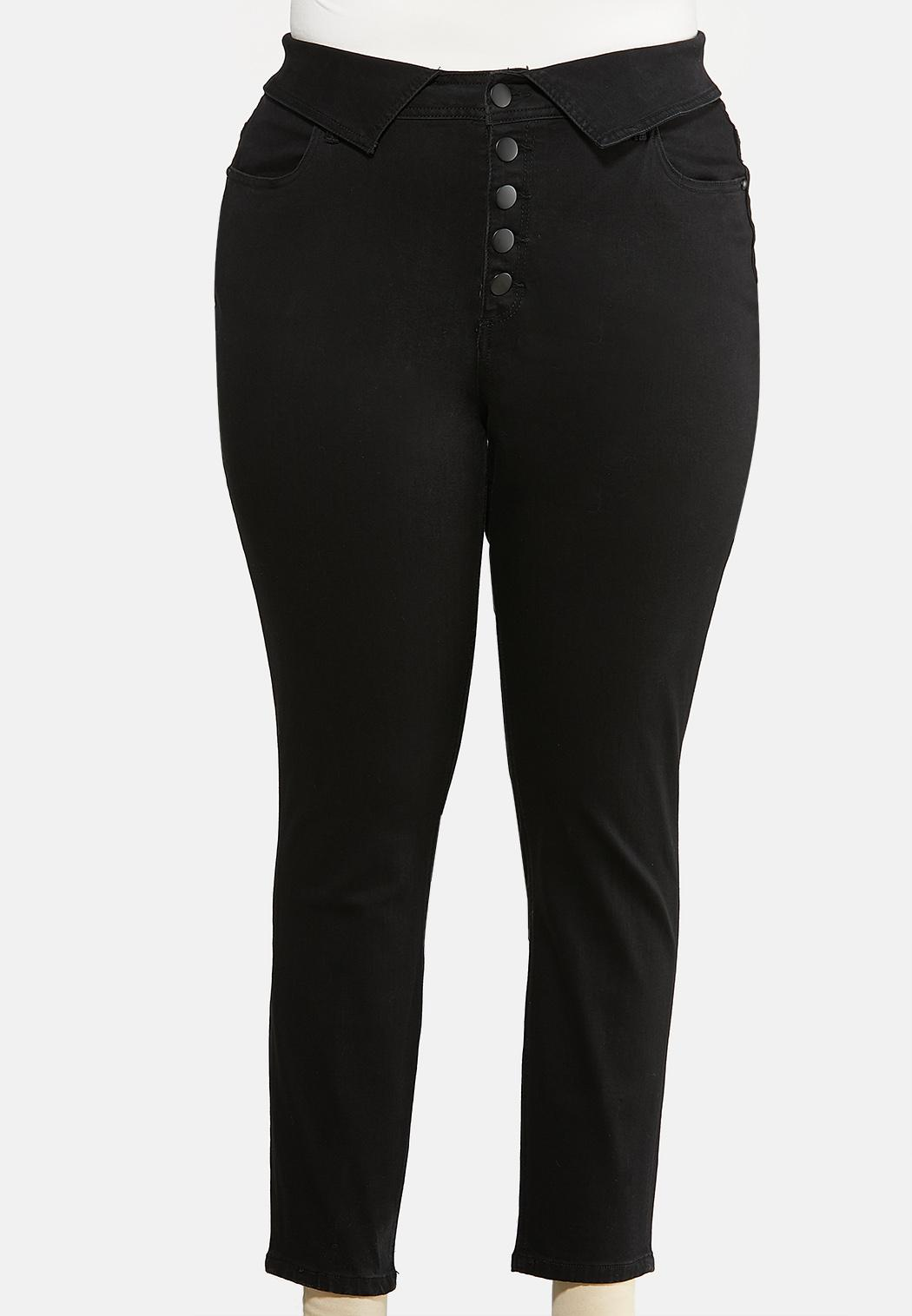 Plus Size Fold Over Skinny Jeans