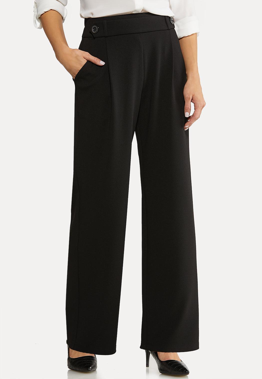 Textured Button Trouser Pants