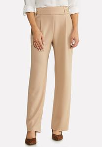 Textured Button Trouser Pants