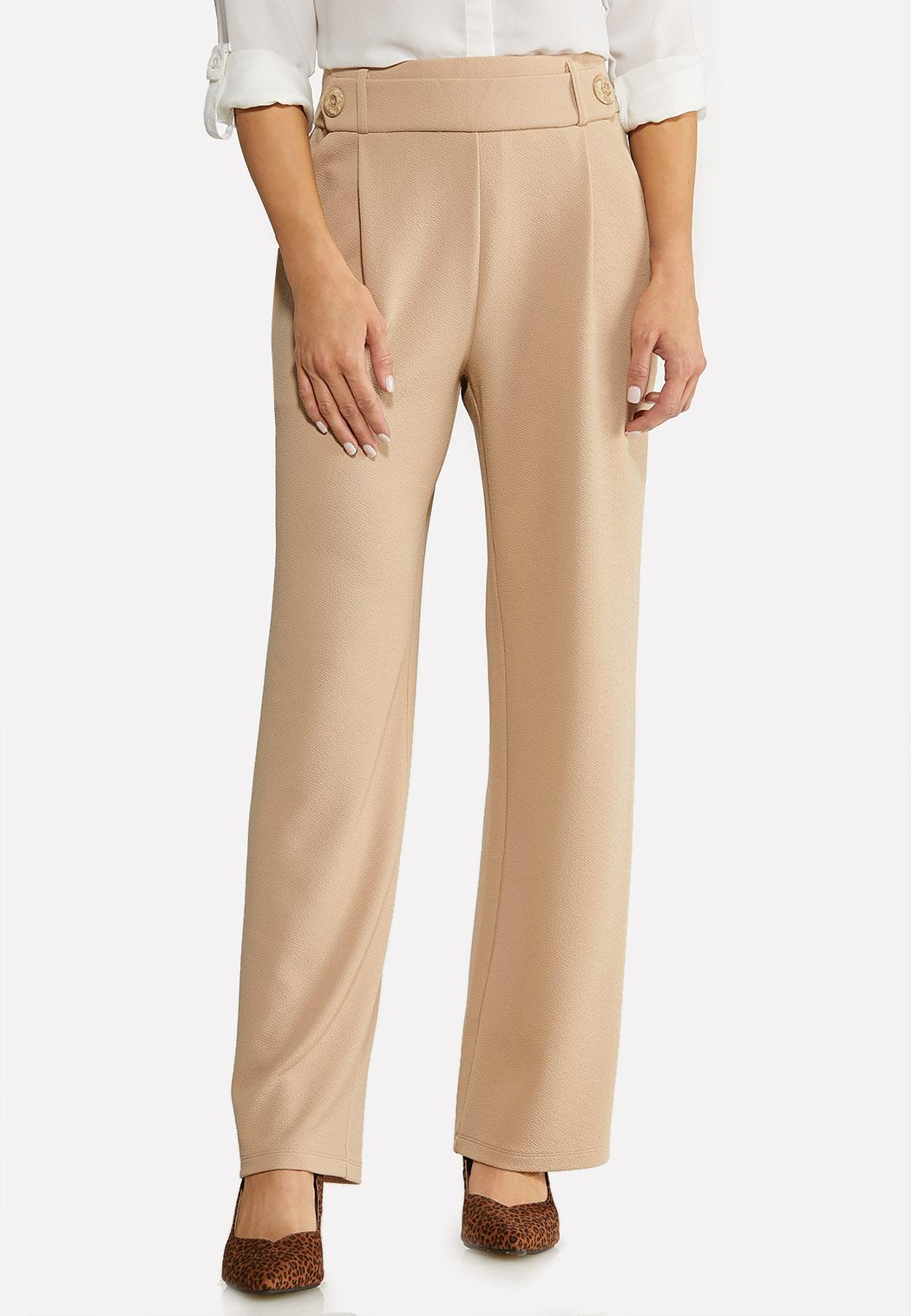 Petite Textured Button Trouser Pants