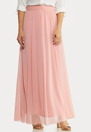 Plus Size Mesh Maxi Skirt