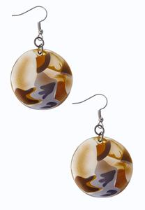 Multi Tone Round Dangle Earrings