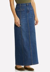 Plus Size Panel Denim Maxi Skirt