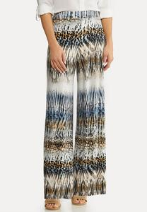 Petite Animal Stripe Palazzo Pants