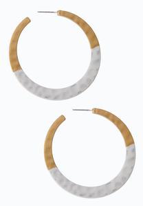 Hammered Two-Tone Hoop Earrings