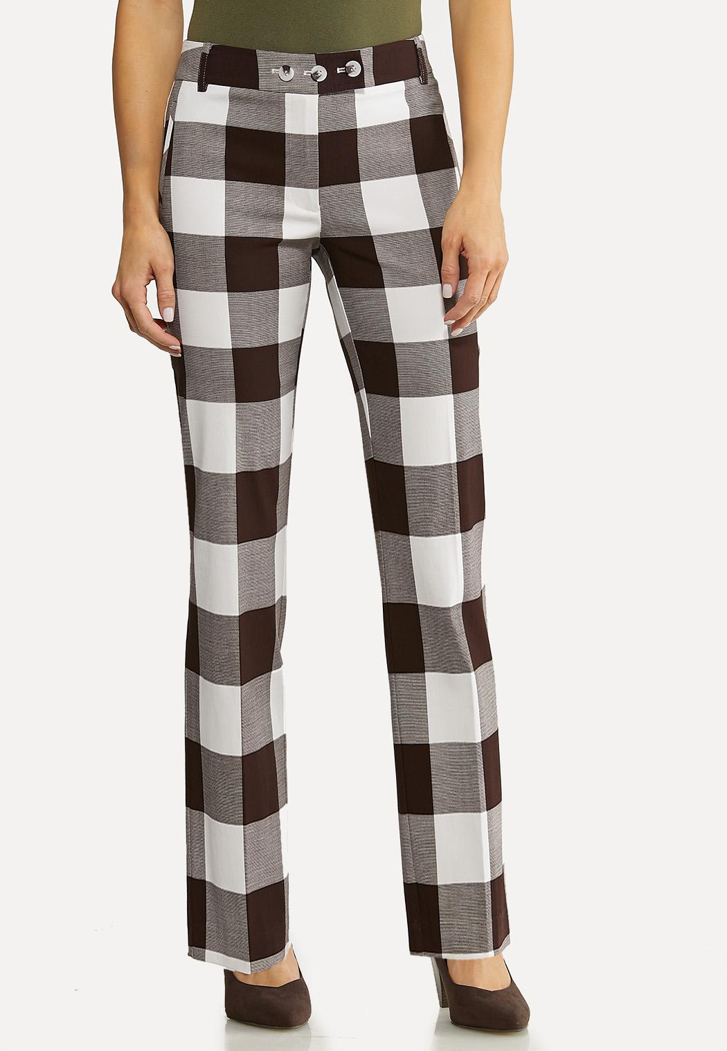 Brown Check Bengaline Pants
