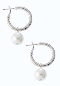 Dangle Pearl Hoop Earrings