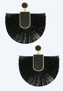 Raffia Post Fringe Fan Earrings