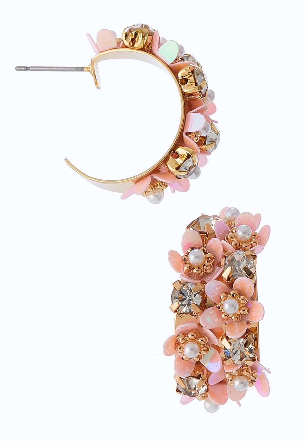 Embellished Bloom Hoop Earrings