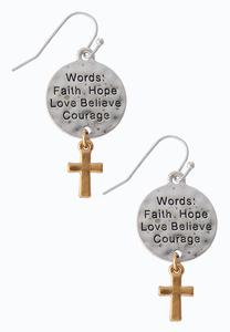 Inspirational Cross Charm Earrings