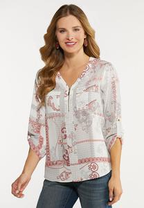 Plus Size Paisley Equipment Top