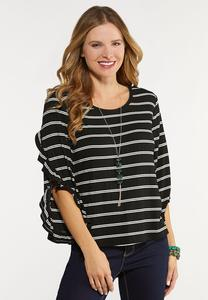 Plus Size Ruffle Sleeve Stripe Top