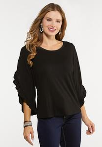 Plus Size Ruffled Slit Sleeve Top